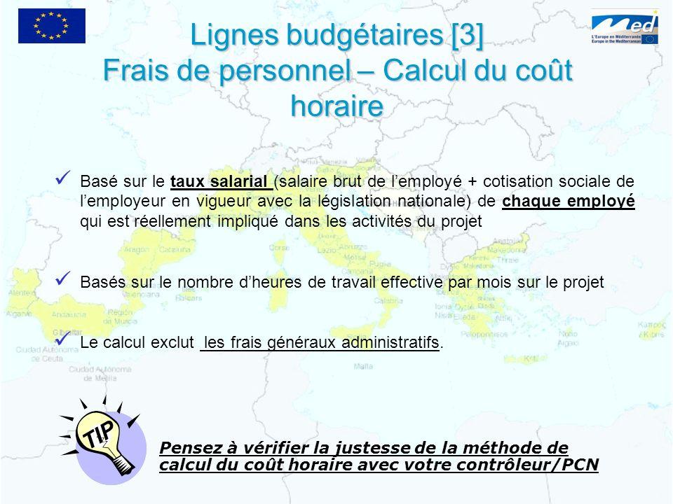 Lignes budgétaires [3] Frais de personnel – Calcul du coût horaire